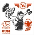 Bodybuilder and Bodybuilding Fitness logos emblems vector image