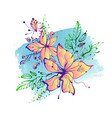 bright fantasy hand drawn flowers vector image vector image
