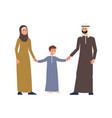 cartoon arab or muslim family people characters in vector image