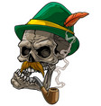 cartoon human skull in bavarian traditional hat vector image vector image