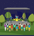 cartoon open air night festival and landscape vector image vector image
