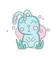 cartoon portrait bunny of blue bunny on green vector image