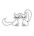 cats sitting with big tails line style vector image
