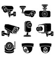 cctv camera icons vector image