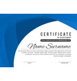 certificate template in elegant blue color vector image vector image
