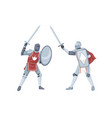 chivalry tournament two medieval knights in armor vector image