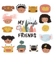 cute kids faces and jungle animals on a white vector image vector image