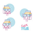 cute milk box kawaii cartoon vector image vector image