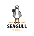 cute seagull cartoon logo icon vector image