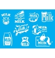 Dairy and milk produsts or symbols vector image vector image