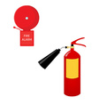 Fire extinguisher and alarm bell vector image vector image