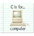 Flashcard letter C is for computer vector image vector image