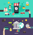 Flat banners set of bisines idea banking system vector image
