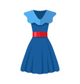 Flat design blue women dress vector image