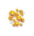 funny 3d emoji face icons on white background vector image