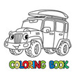 funny car or offroader with eyes coloring book vector image