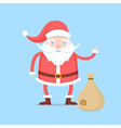 Funny cartoon Santa Claus in red coat and hat vector image