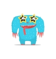 Happy Blue Furry Giant Monster In Star Shaped Dark vector image vector image