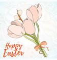 happy easter hand drawn retro card vector image vector image