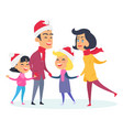 happy family in warm clothes on white background vector image vector image