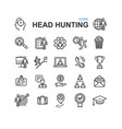 head hunting black thin line icon set vector image