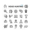 head hunting black thin line icon set vector image vector image