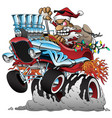 hot rod santa christmas cartoon car vector image vector image