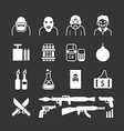 Icons set terrorist design vector image