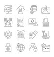 internet security and digital protection icons set vector image vector image