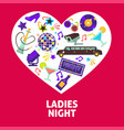 ladies night party heart poster vector image vector image