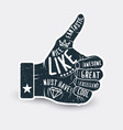 like thumb up vintage styled sticker label design vector image vector image