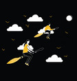 man and woman flying on broom stick vector image