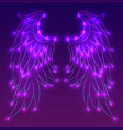neon of angel wings with sparks vector image vector image