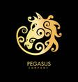 pegasus company golden horse creative logo design vector image
