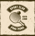 ping pong sport club vintage emblem vector image vector image