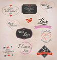 retro valentines labels vector image vector image