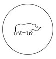 rhinoceros black icon outline in circle image vector image vector image