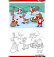 santa claus characters group on christmas time vector image vector image