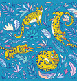 seamless pattern with yellow leopards vector image