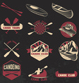 Set of canoe club labels badges and design vector image vector image
