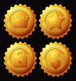 set of gold medallion vector image