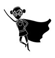 silhouette black front view superheroin woman vector image