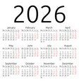 simple calendar 2026 monday vector image vector image
