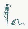 skeleton prostrated under female foot vector image