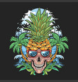 skull pineapple head with glasses and coconut tree vector image vector image