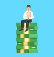 successful businessman sitting on a stack of money vector image vector image