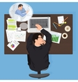 Tired business man worker sleeping at work vector image vector image