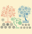 tree patterns with different elements vector image