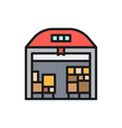 warehouse with parcels flat color icon vector image
