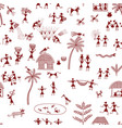 warli painting traditional indian tribal art vector image